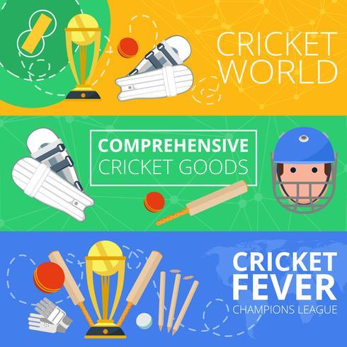 Cricket horisontella banderoller platt vektor