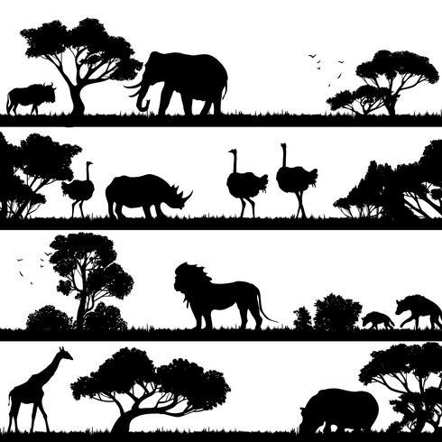 afrikanskt landskaps silhuett vektor