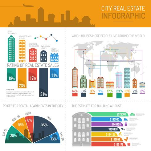 Haus Infografiken Set vektor