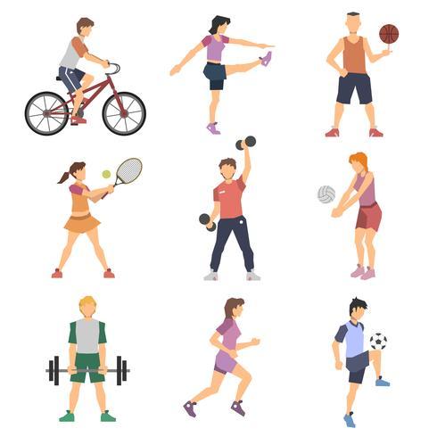 Sport-Leute-flache Ikonen eingestellt vektor
