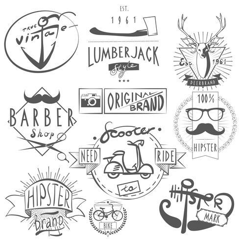 Hipster vintage etiketter svart vektor