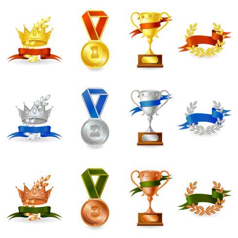 Satz von Auszeichnungen und Medaillen vektor