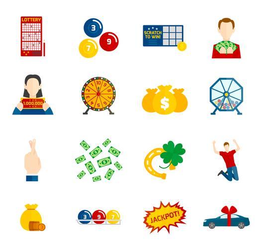Lotteri Icon Flat Set vektor