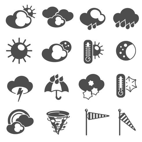 Symboler för väderprognosymboler som är svarta vektor