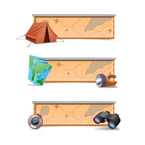 Vandring Banners Horisontell vektor