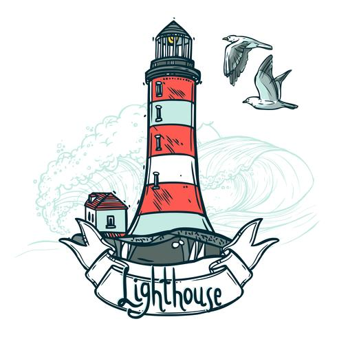 Leuchtturm-Skizze-Illustration vektor