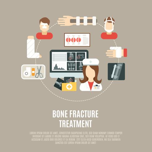 Behandlung von Knochenbrüchen vektor