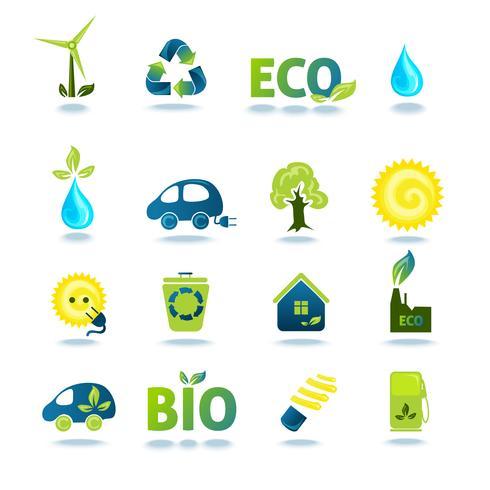 Ökologie Icons Set vektor