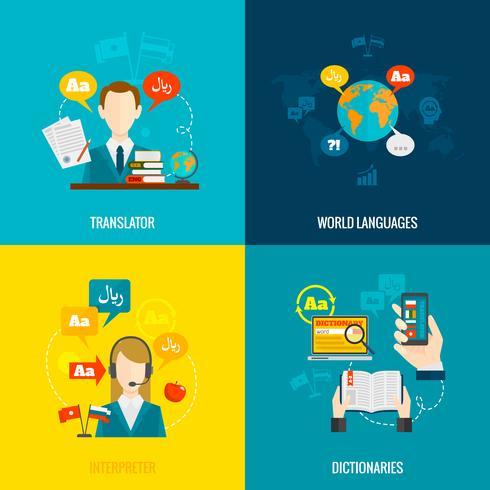 Översättning och ordbok platt ikoner vektor
