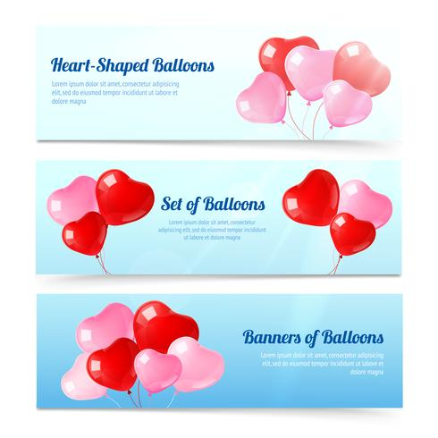 Färgglada ballonger horisontella bannersats vektor