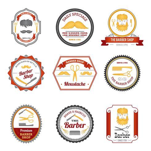 Barber Shop Emblems farbig vektor
