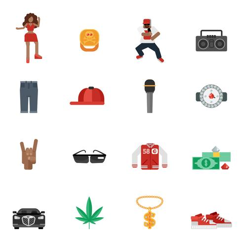 rap musik flache symbole vektor