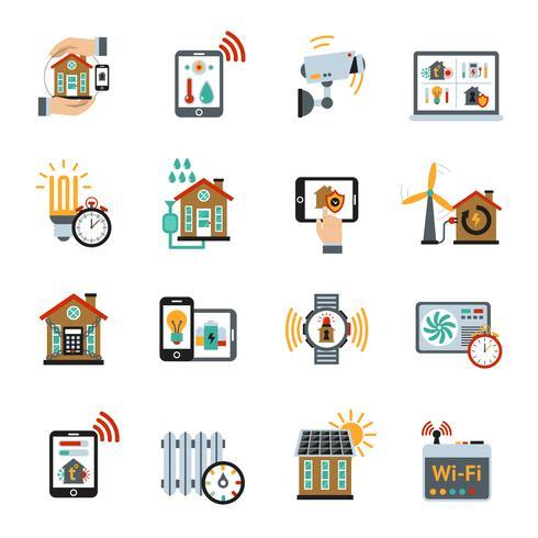 Smart House Technology System Ikoner vektor