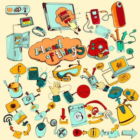 internet av saker doodles färgade vektor