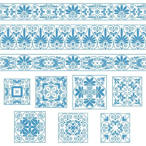 Ange samlingar av gamla grekiska ornament. Antika gränser och kakel i vita och blåa färger vektor