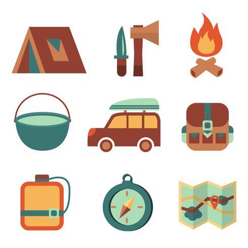 Utomhus turism camping platt ikoner uppsättning vektor