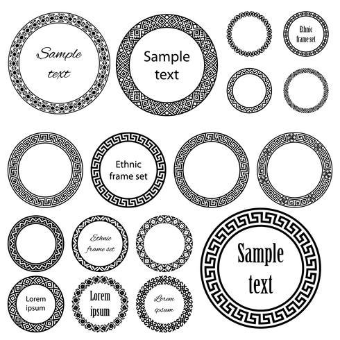 Ethnische runde Rahmen im Mega-Pack. vektor