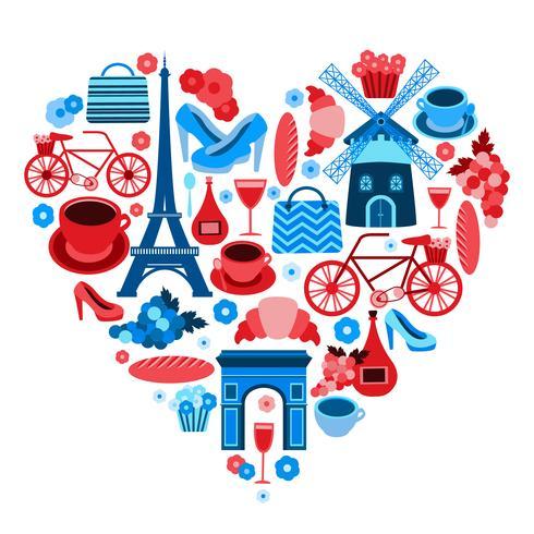 Liebe Paris Herzsymbol vektor