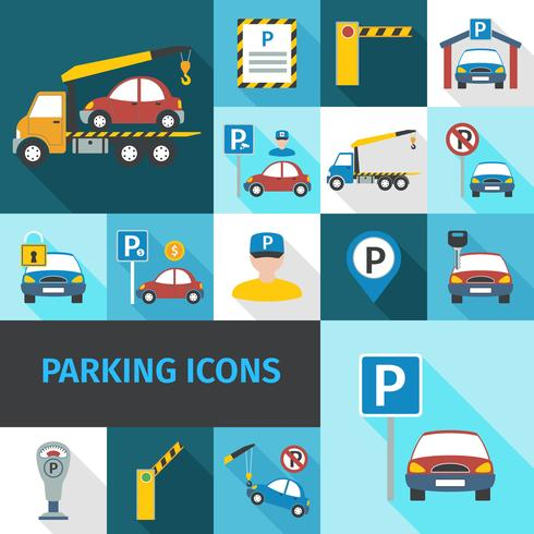 Park-Icons flach vektor