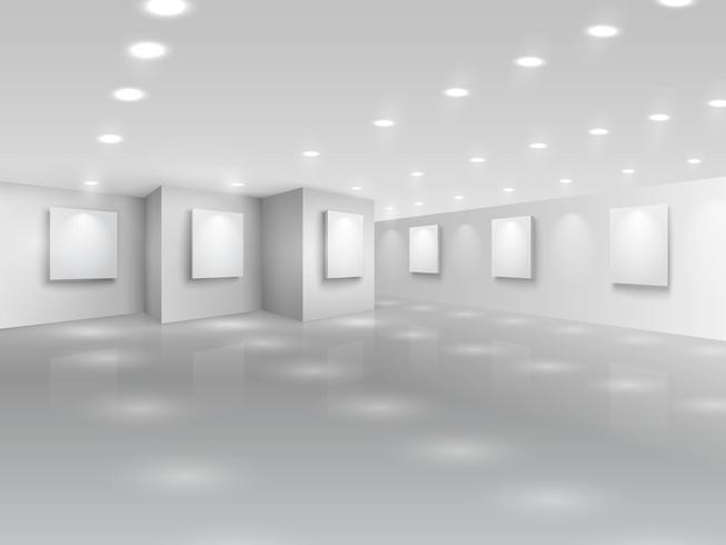 Realistische Galeriehalle mit leeren weißen Leinwänden vektor