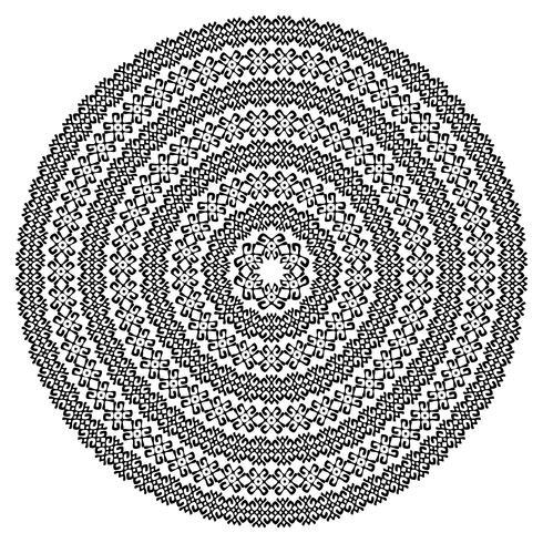 Einfarbige ethnische nahtlose Texturen. Runde dekorative vektorform getrennt auf Weiß. Orientalischer Arabeskenmusterhintergrund. Vektor-illustration vektor