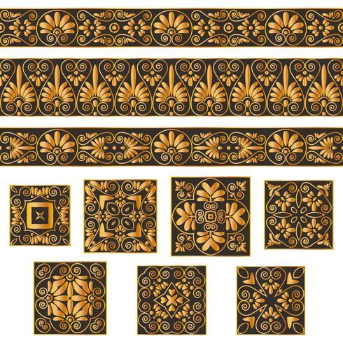 Legen Sie Sammlungen alter griechischer Ornamente fest. Antike Grenzen und Fliesen in den Schwarzweiss-Farben lokalisiert auf grauem Hintergrund. vektor