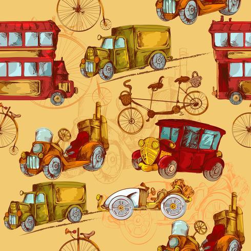Vintage Transport Sömlös vektor