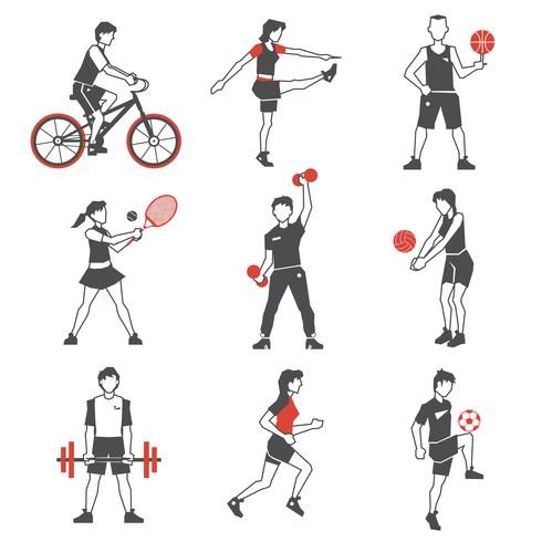 Sport Leute-Ikone Schwarzes vektor