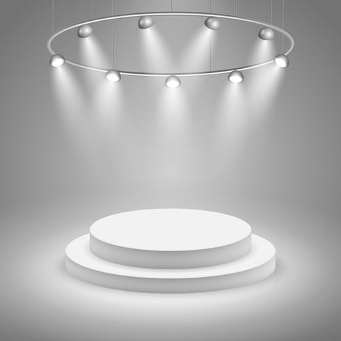 Weiße Bühne mit Scheinwerfer vektor