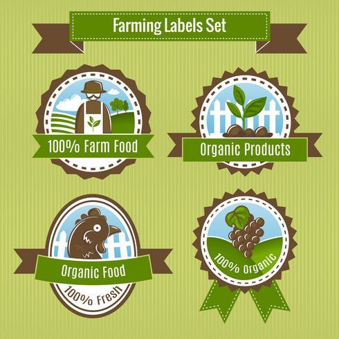 Jordbruksskördar och jordbruksmärken eller etiketter vektor