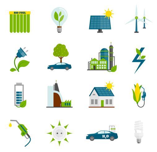 Ökoenergie flache Symbole vektor