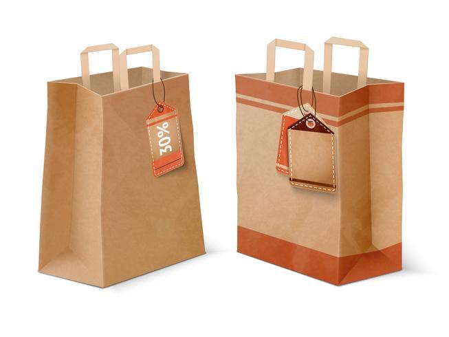 Shopping papperspåsar och försäljning etiketter mall vektor