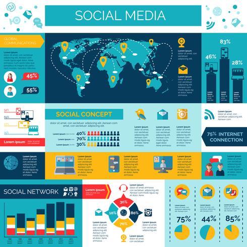 Sociala medier och nätverk infografiska uppsättning vektor