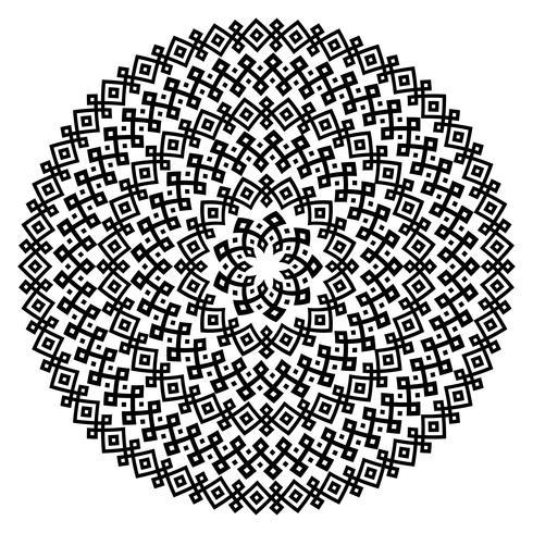 Einfarbige ethnische nahtlose Texturen. Runde dekorative vektorform getrennt auf Weiß vektor