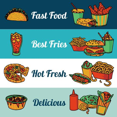 Snabbmat restaurang meny banners set vektor