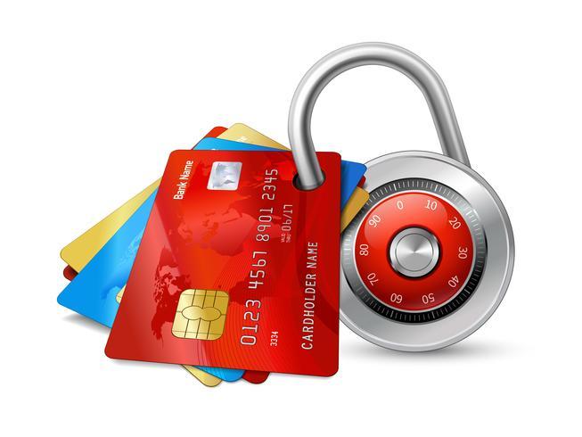 Sats av säkra kreditkort med chips vektor