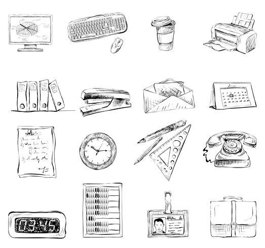 Kontorsmateriel skrivartillbehör ikoner uppsättning vektor