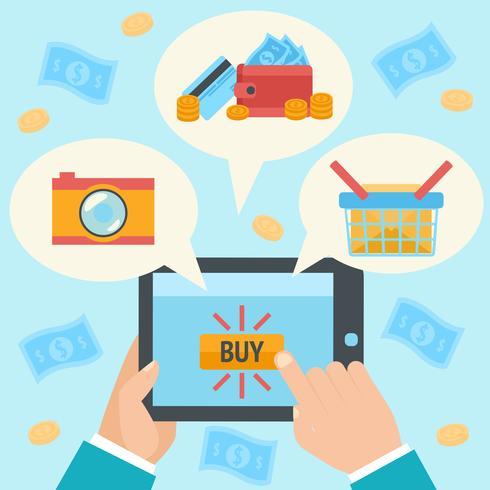 Geschäftshand, die Internetkauf tätigt vektor