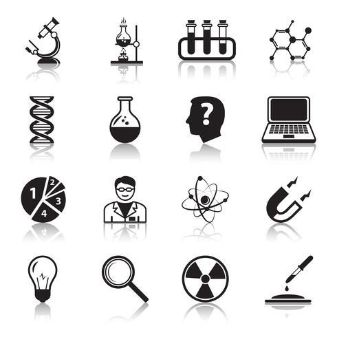 Kemi eller biologi vetenskap ikoner uppsättning vektor