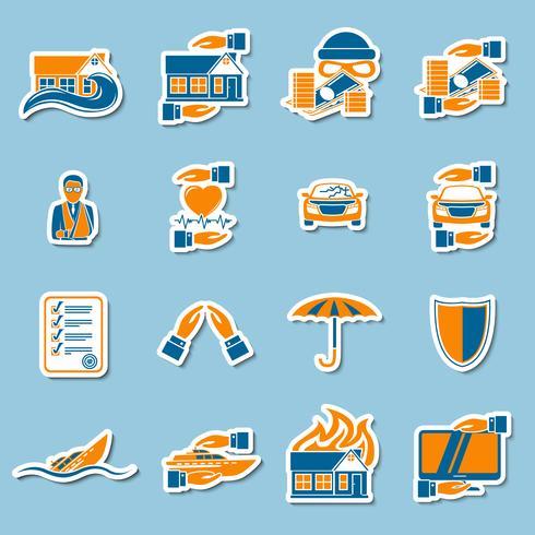 Försäkringsklistermärke samling vektor