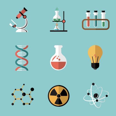 Chemie-Wissenschafts-flache Ikonen eingestellt vektor