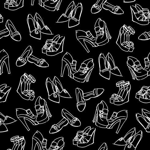 Seamless sko skissmönster vektor