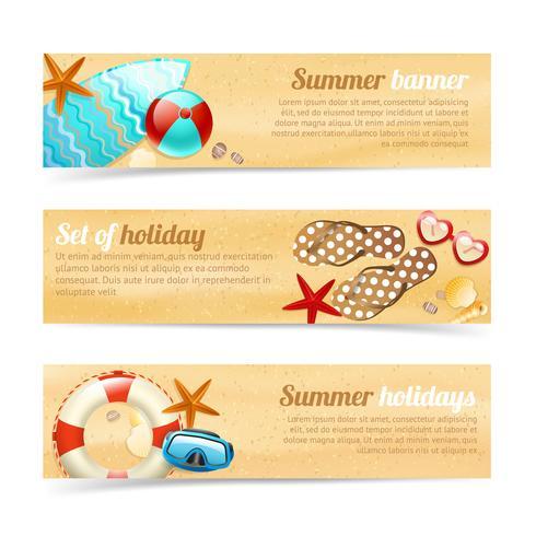 Samling av banderoller med sommarsemester semester vektor