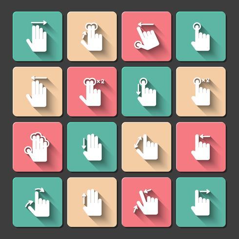 Handnote Gesten Icons Set vektor