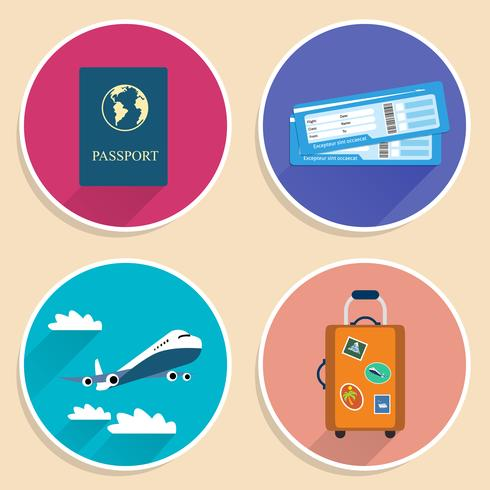 Urlaubsreisen Reise Icons Set vektor