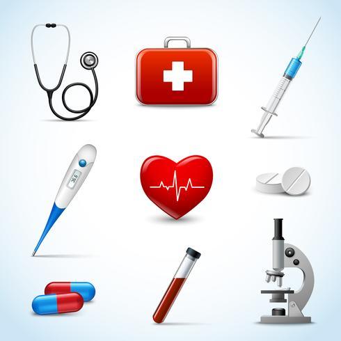 Realistiska medicinska ikoner vektor