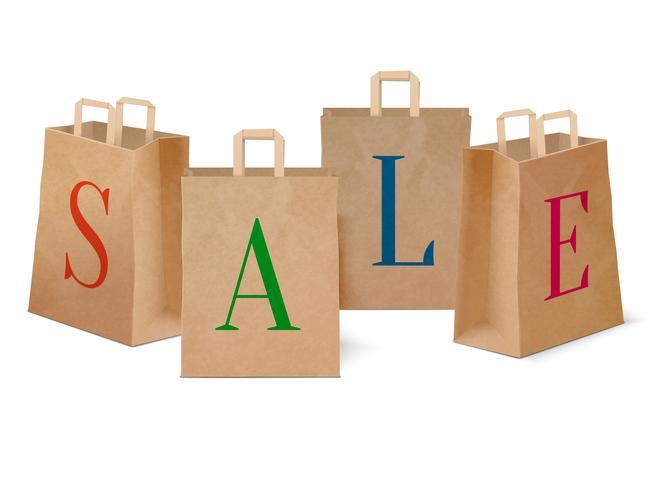 Verkauf Papier Einkaufstüten vektor