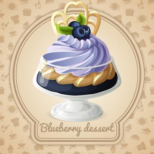 Blueberry dessert märke vektor