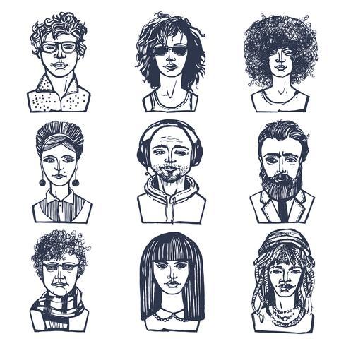 Skissa folkporträtt set vektor