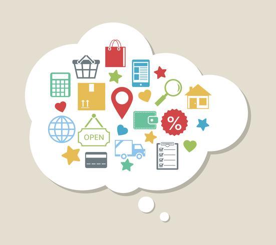 Online-Shopping mit zufriedenen zufriedenen Kunden vektor